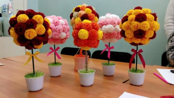 Цветы из салфеток своими руками для интерьера 50 фото