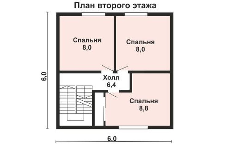 (+80 фото) Планировка дома 6 на 6 с мансардой