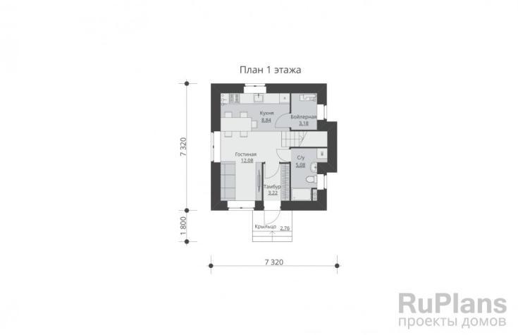 (+50 фото) Дом 7 на 7 с мансардой планировка