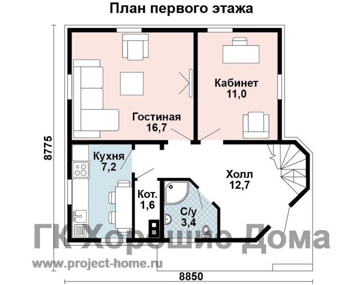 (+40 фото) Планировка дома из бруса 8 на 8