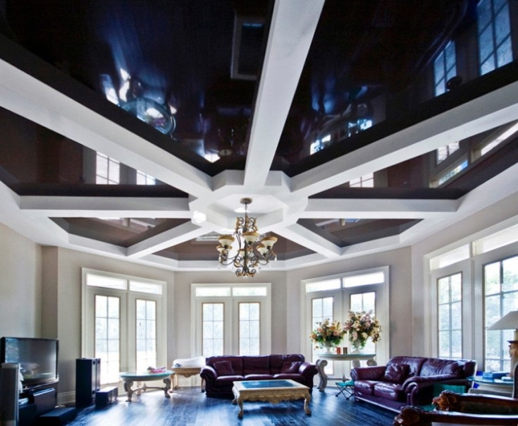 Потолок из гипсокартона в зале 80 фото
