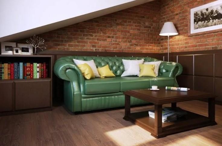 (+40 фото) Зеленый диван в интерьере