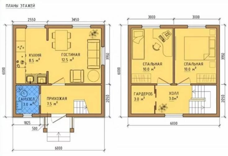 (+37 фото) Дом 6 на 6 из бруса планировка