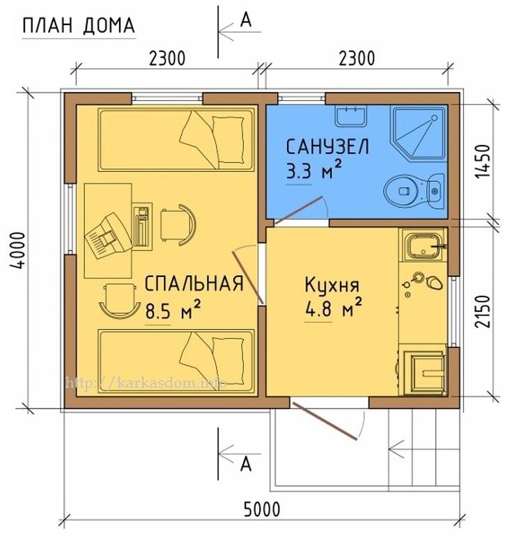 (+55 фото) Планировка дома 5 на 5 с мансардой
