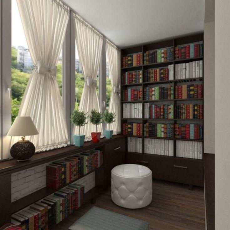 (+32 фото) Интерьер библиотеки на балконе