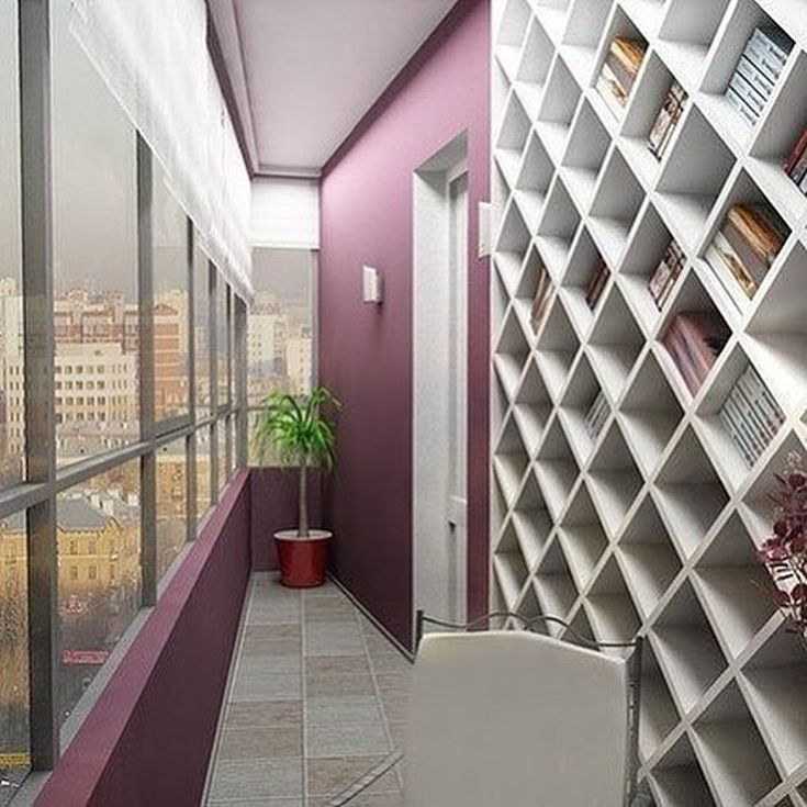 18 фото Интерьер библиотеки на балконе