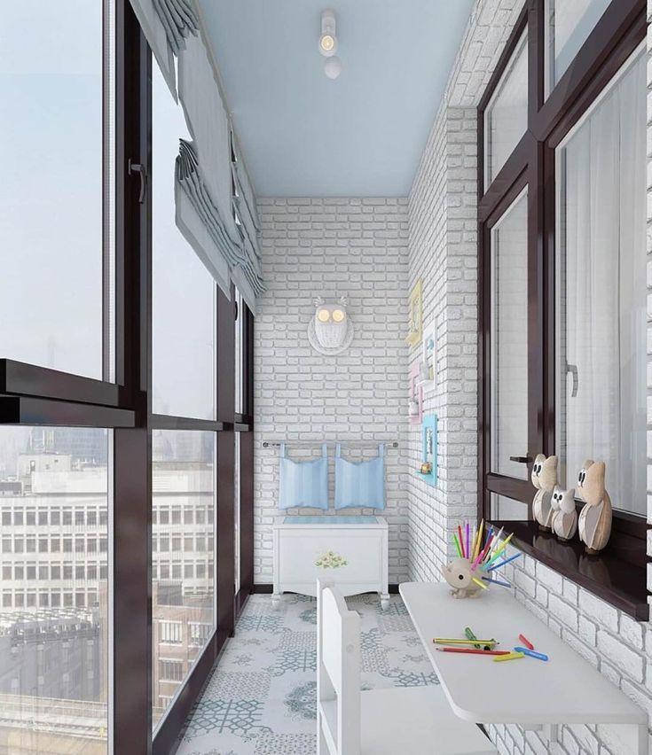 Фото Римские шторы в интерьере балкона