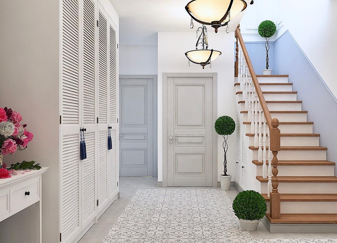 44 фото интерьер прихожей частного дома с лестницей