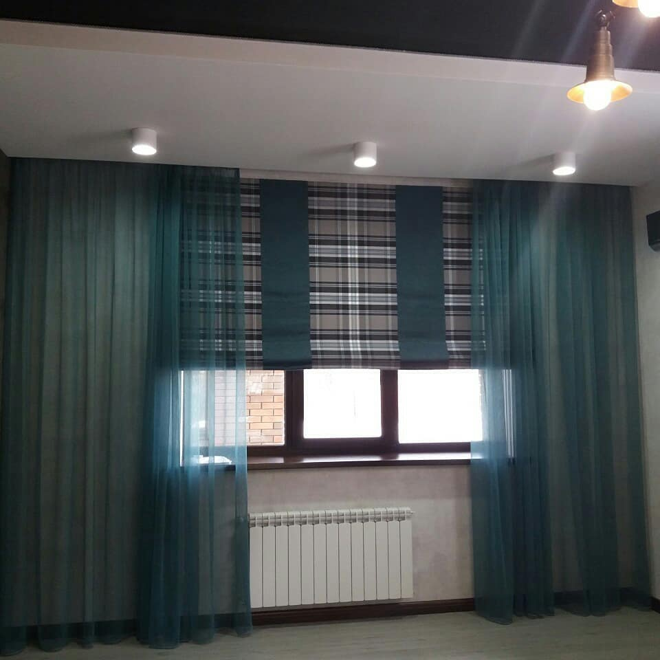 20 фото Бирюзовые шторы в интерьере