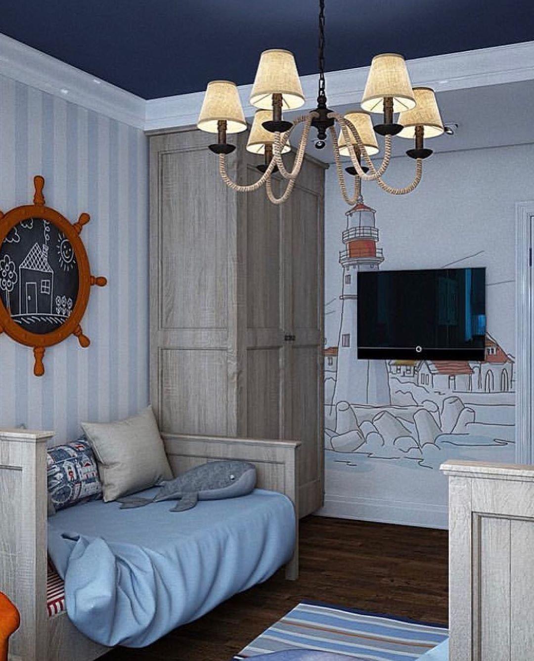 (+65 фото) Гостиная в морском стиле интерьер