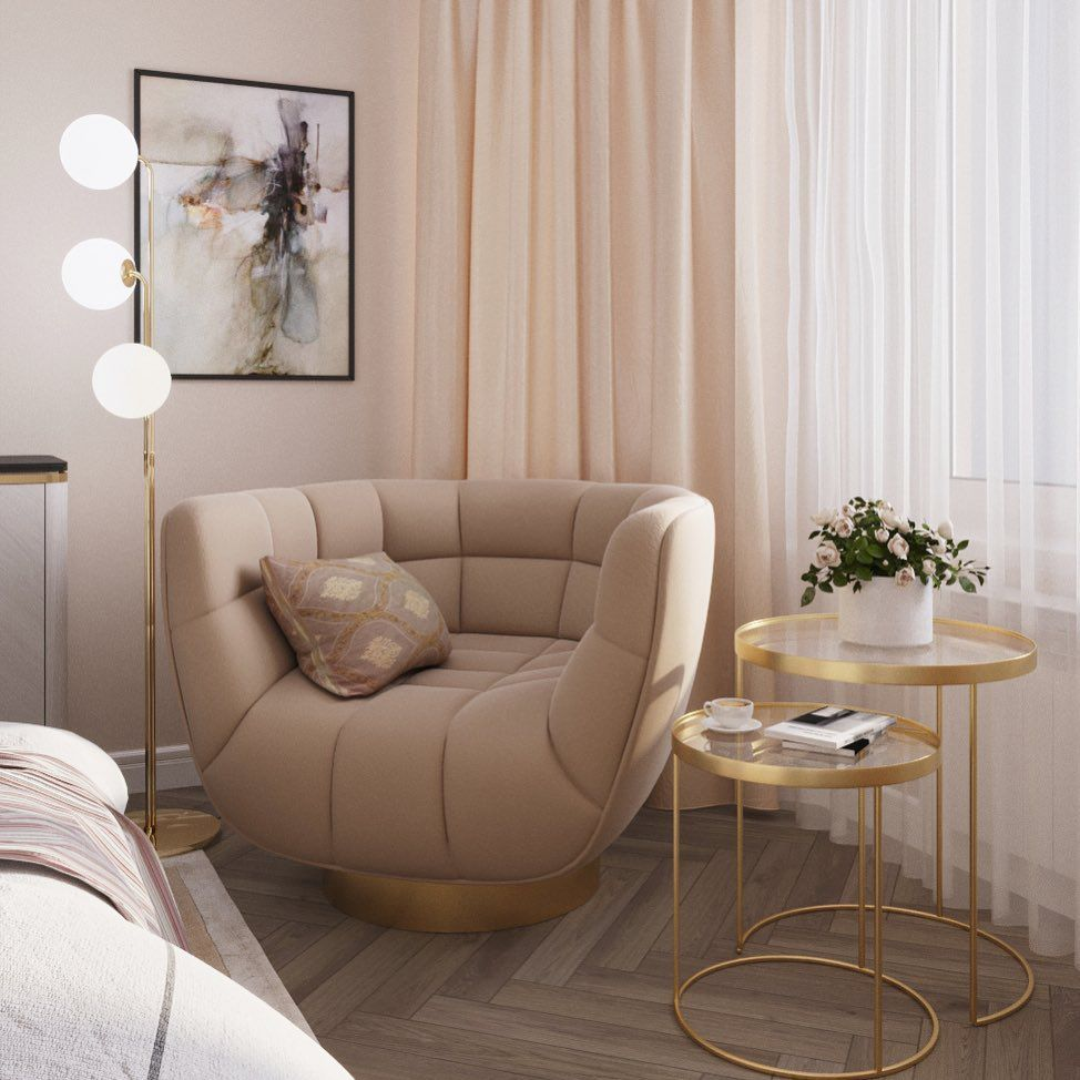 (+50 фото) Персиковый цвет в интерьере гостиной