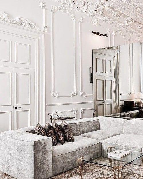 (+65 фото) Молдинги на стенах в интерьере гостиной