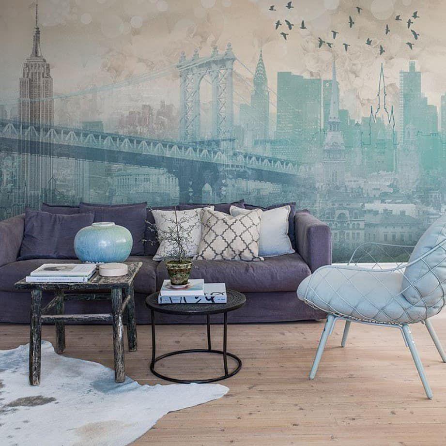 (+63 фото) Фрески на стену в интерьере гостиной