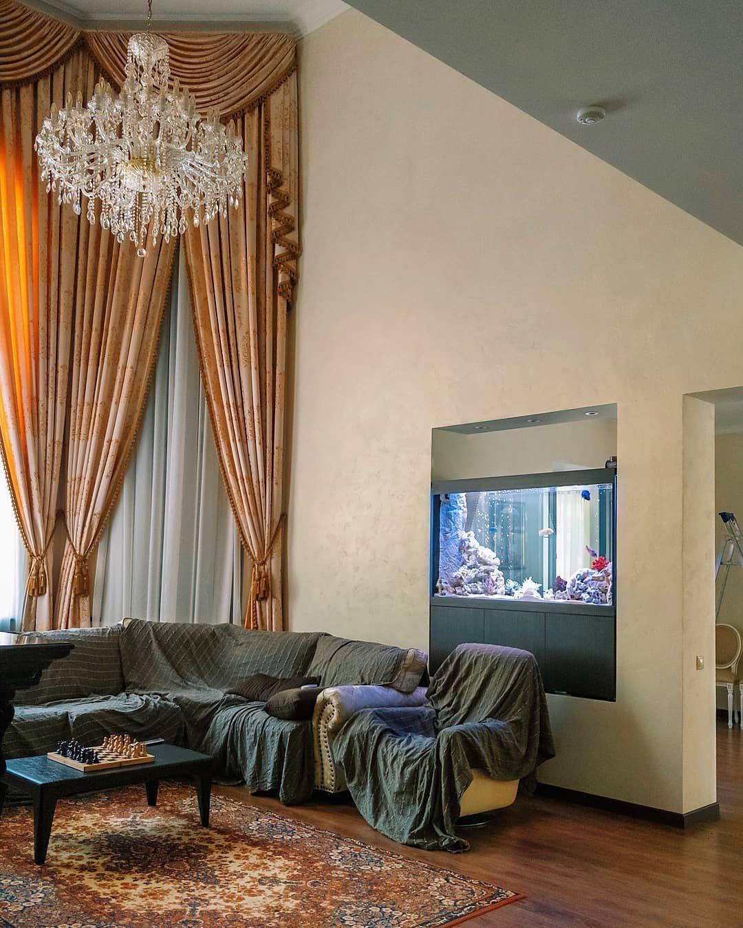 (+78 фото) Аквариум в интерьере гостиной
