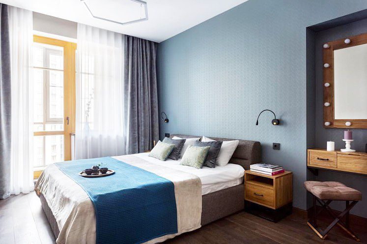 (+55 фото) Интерьер гостиной с кроватью