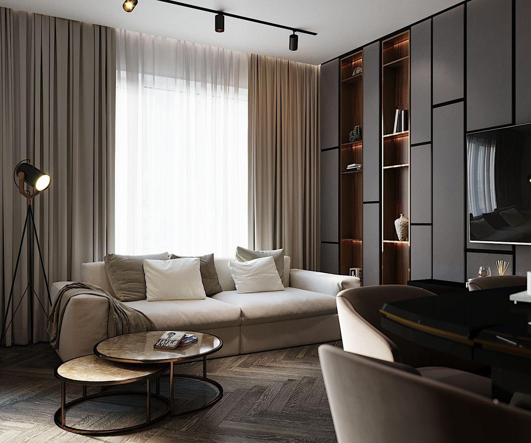 (+65 фото) Интерьер гостиной шоколадного цвета