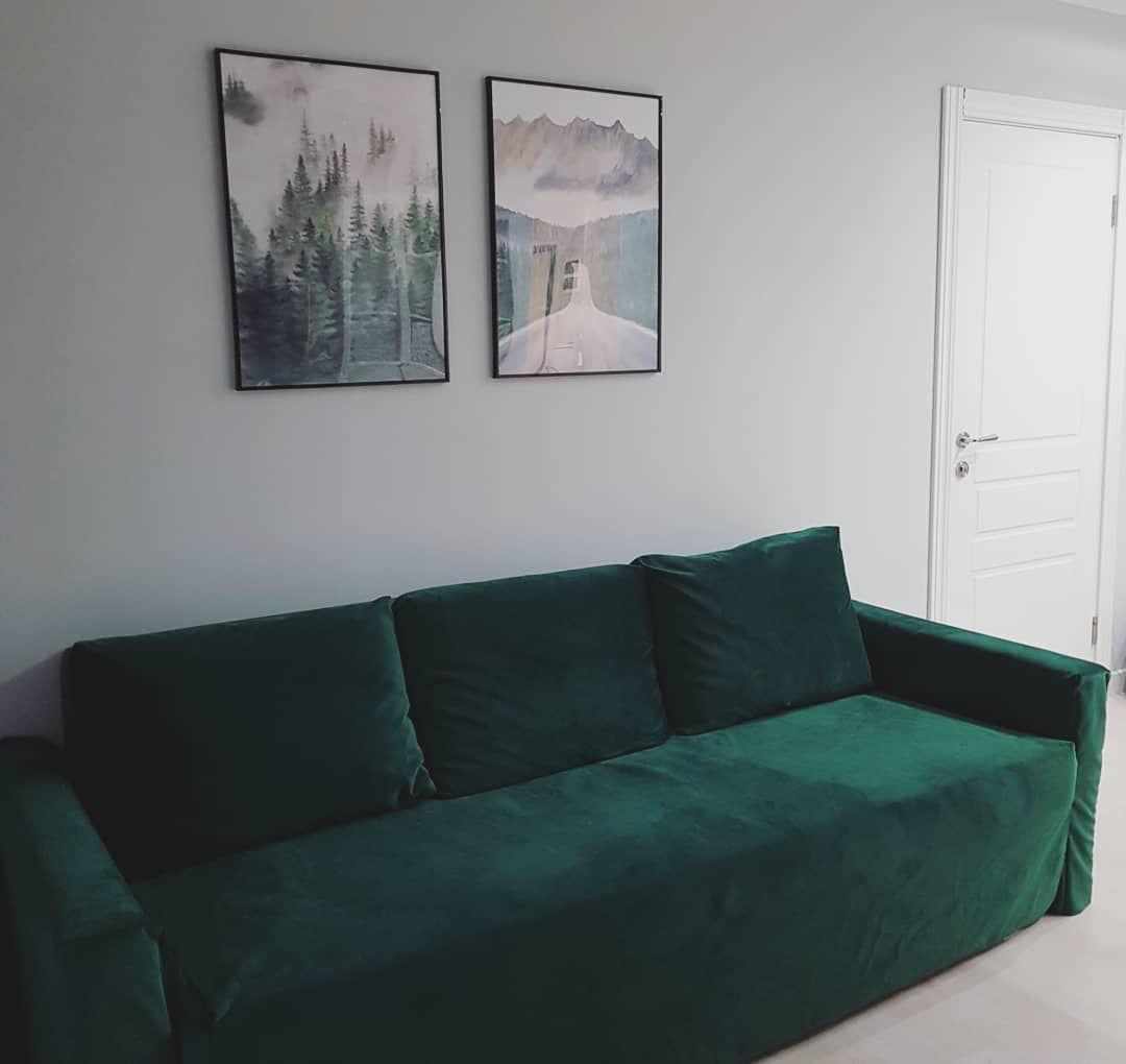 (+70 фото) Изумрудный цвет в интерьере гостиной