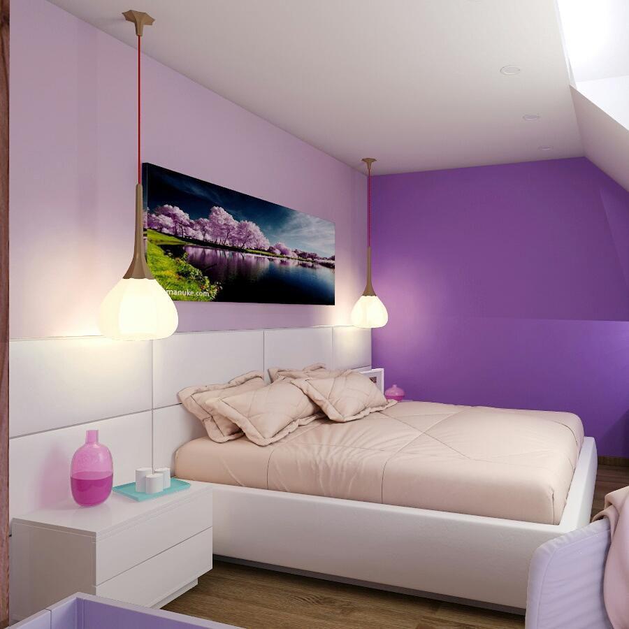 (+70 фото) Интерьер сиреневой спальни