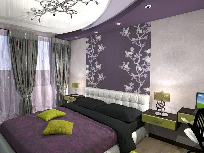 60 фото фиолетовый в интерьере спальни