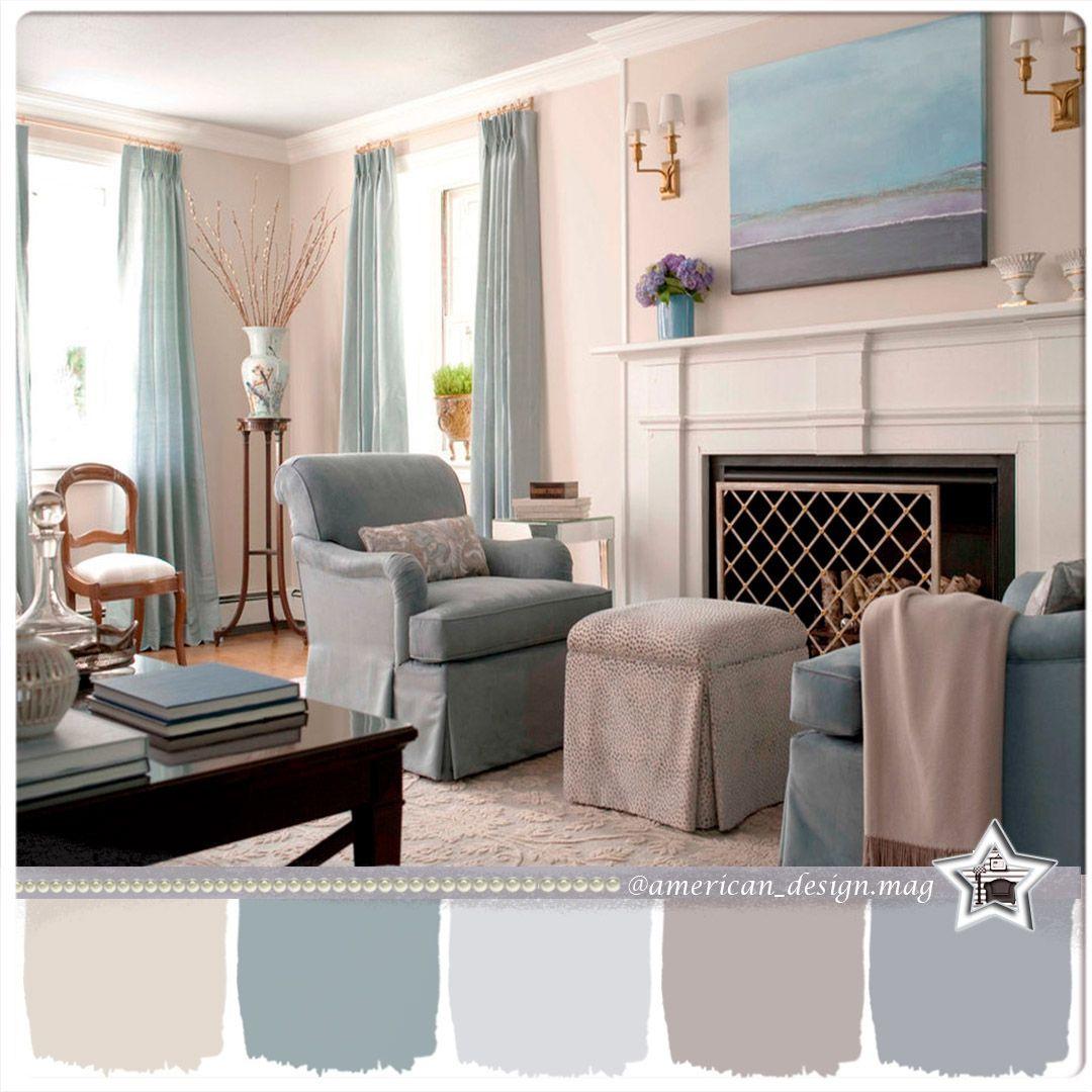 (+45 фото) Голубой цвет в интерьере гостиной