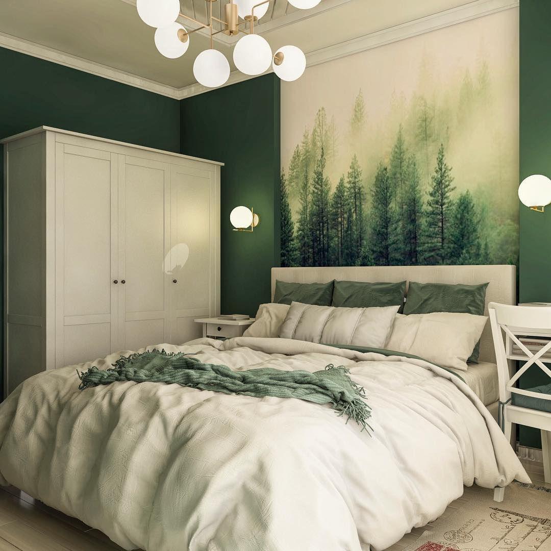 70 фото зеленый интерьер спальни