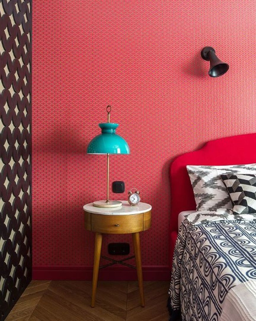 (+110 фото) Интерьер красной спальни