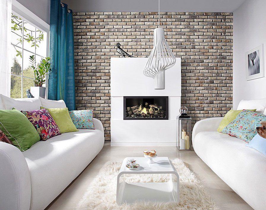 (+75 фото) Декоративный камень в интерьере гостиной