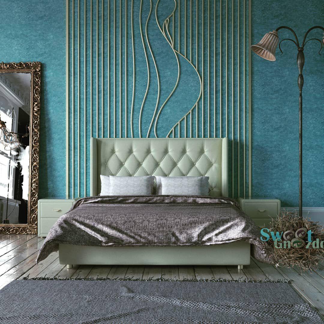 (+80 фото) Голубой интерьер спальни