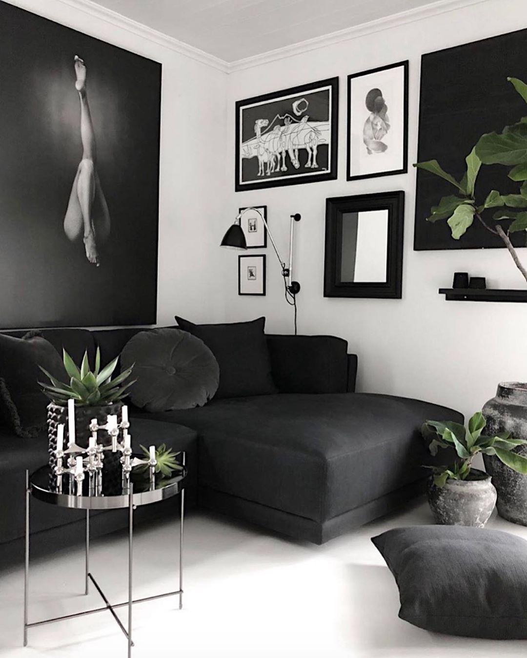 80 фото черный цвет в интерьере гостиной