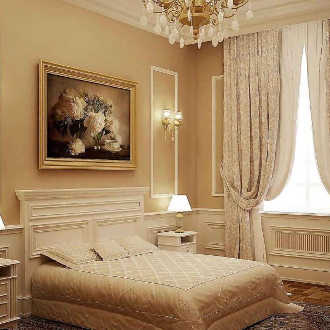 (+100 фото)  Интерьер спальни в бежевых тонах