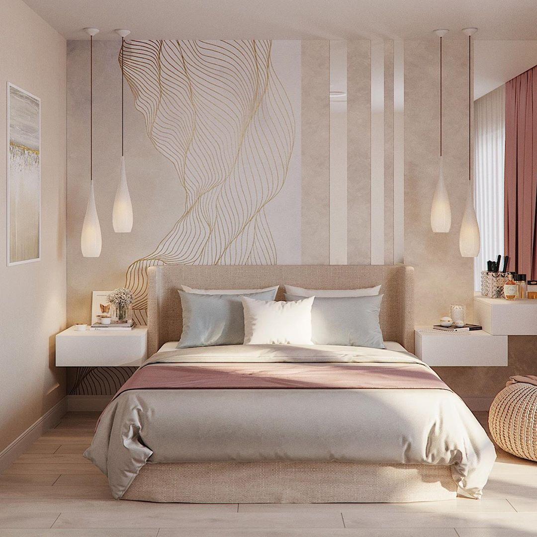 (+70 фото) Интерьер прямоугольной спальни