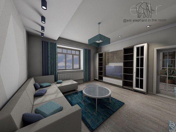 (+55 фото) Бирюзовый цвет в интерьере гостиной