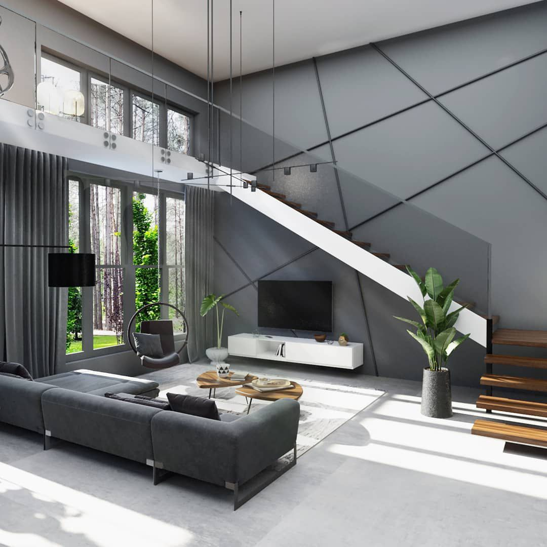 35 фото интерьер дома с лестницей в гостиной