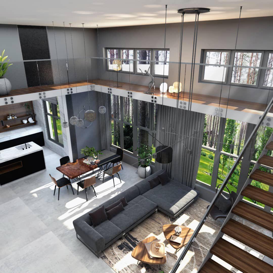 (+55 фото) Интерьер дома с лестницей в гостиной