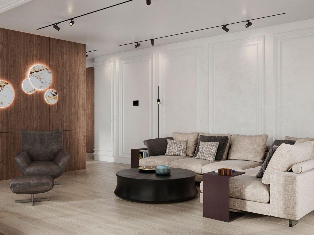 (+70 фото) Стол в гостиной в интерьере