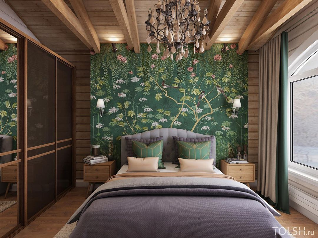 (+80 фото) Деревянная спальня интерьер