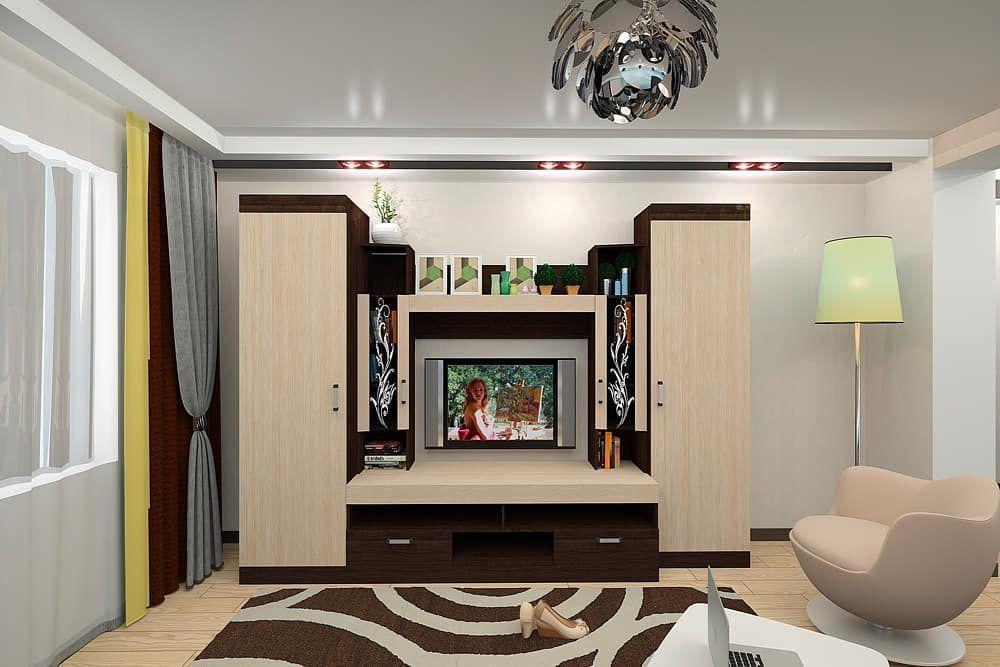 (+55 фото) Интерьер гостиной цвета венге