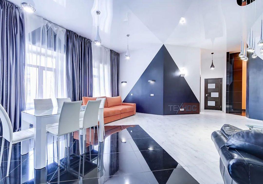 36 фото натяжные потолки в интерьере гостиной