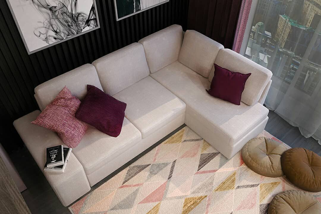 (+70 фото) Интерьер гостиной с угловым диваном