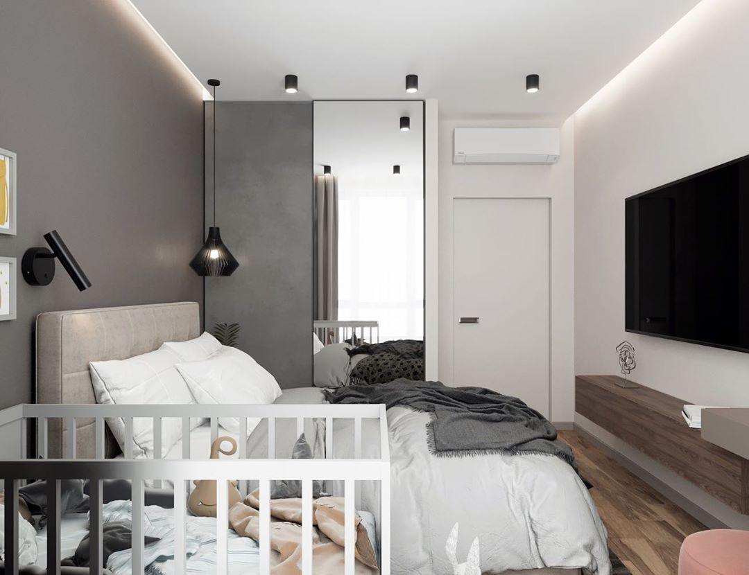 30 фото интерьер спальни с детской кроваткой