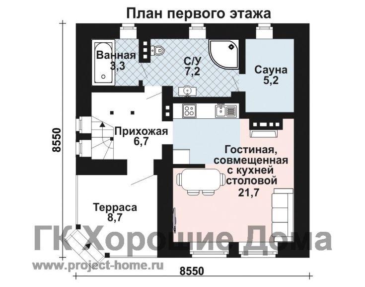 (+40 фото) Планировка дома 8 на 8 с мансардой