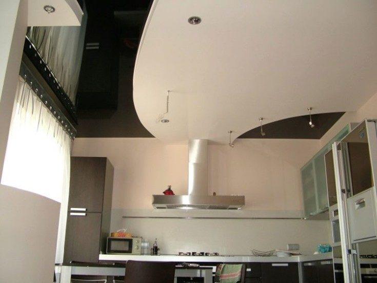 Красивые потолки на кухне из гипсокартона