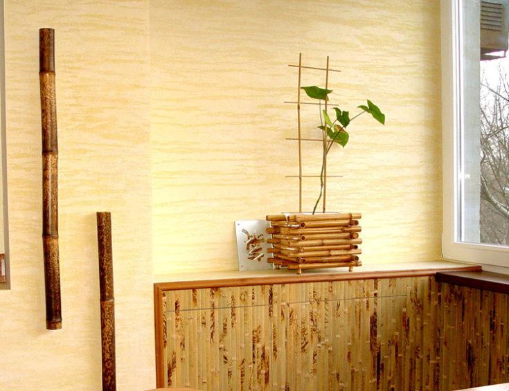 (+74 фото) Бамбуковые обои в интерьере фото