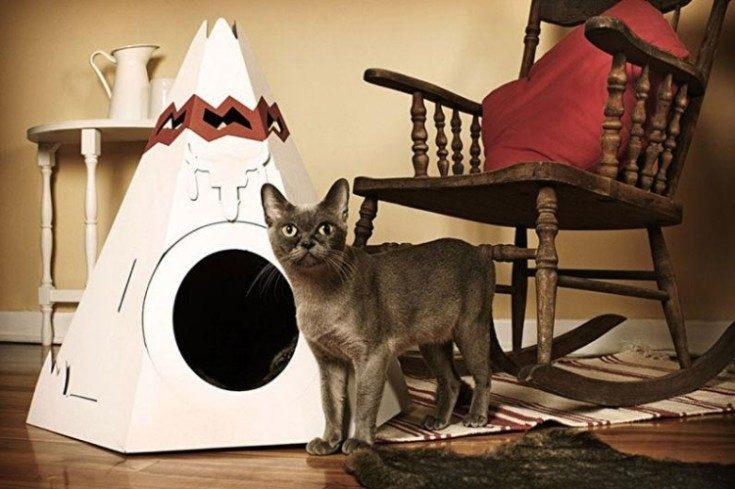 Домик для кошки: как разместить в интерьере и сделать самому