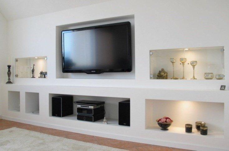 (+98 фото) Ниша под телевизор в современном интерьере квартиры 78 фото