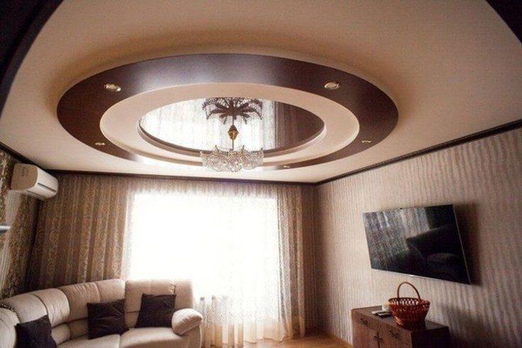 (+110 фото) Потолок из гипсокартона в зале 80 фото