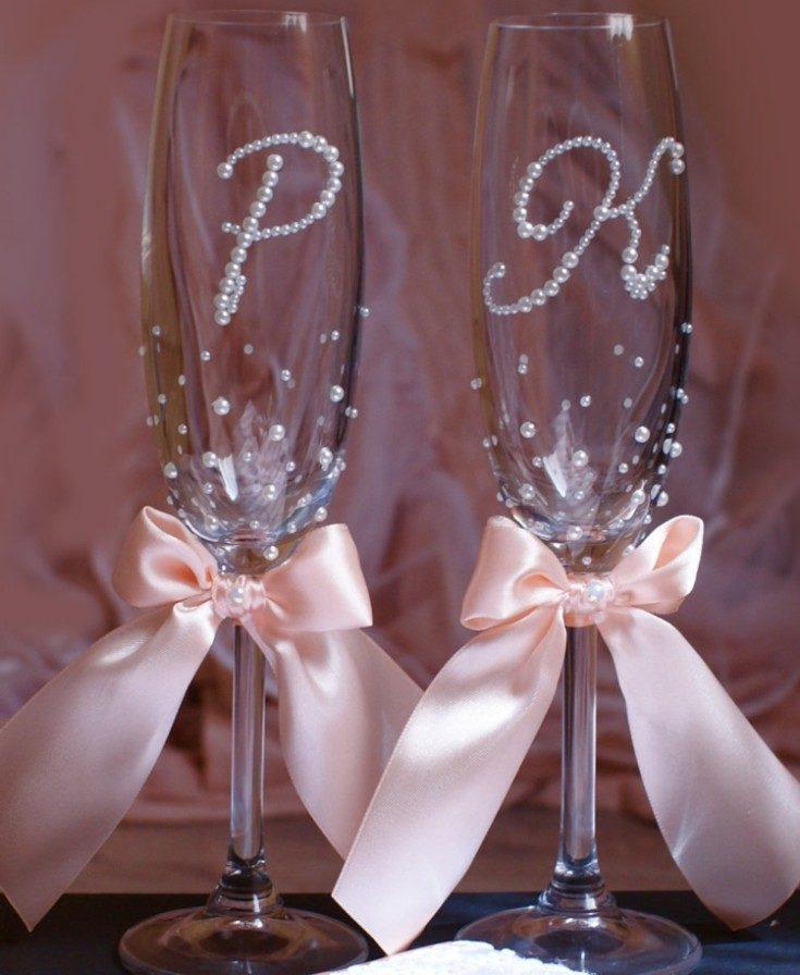 Декор свадебных бокалов своими руками