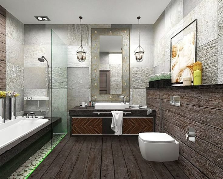 (+100 фото) Ванная в стиле лофт