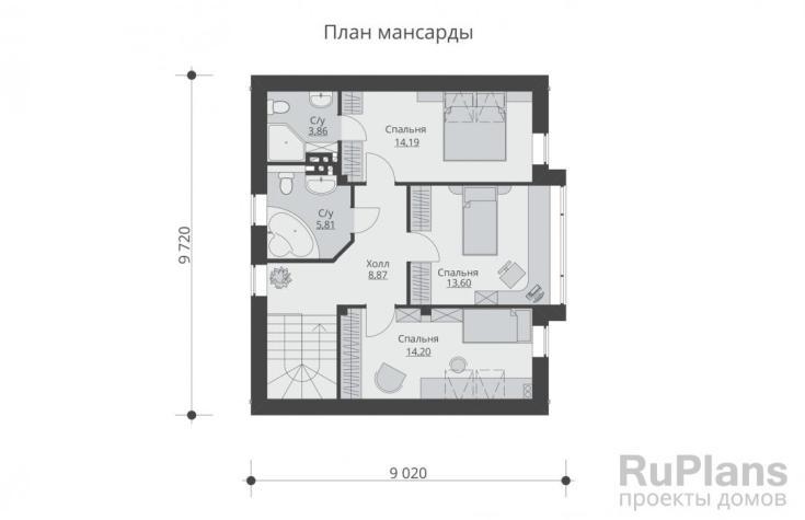 (+35 фото) Планировка дома 10 на 10 с мансардой
