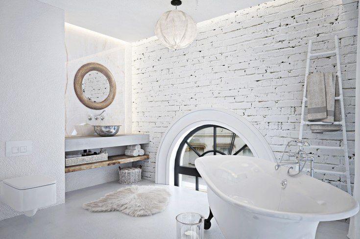 (+55 фото) Декоративный белый кирпич в интерьере